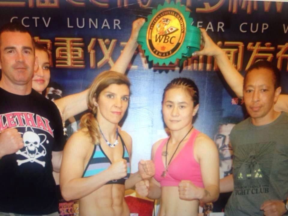 2014 WBC women international Championship, China. Lindsay Garbatt vs Chun Yan Xu, Michele as trainer on the right.