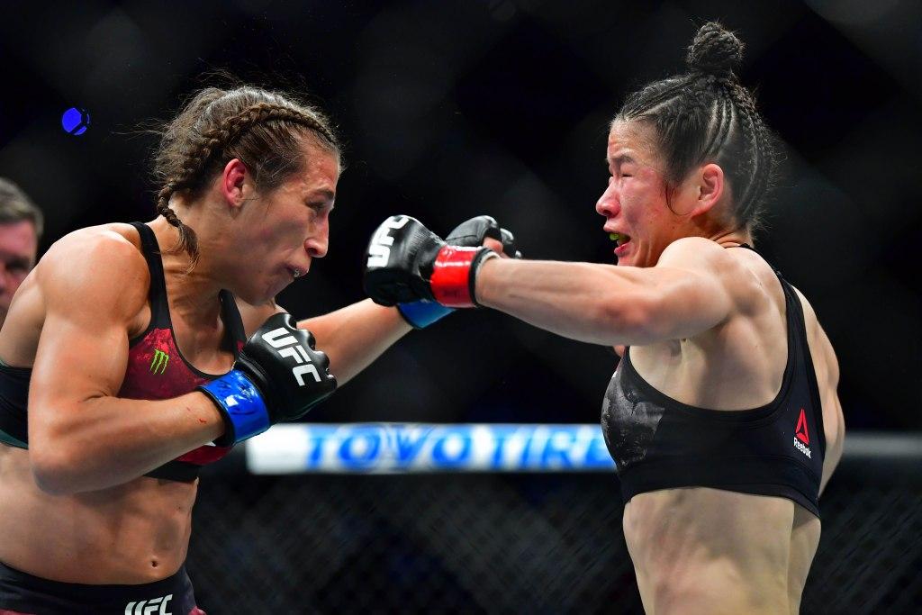 Joanna Jedrzejczyk vs Weili Zhang at UFC248 by Stephen R. Sylvanie-USA TODAY Sports